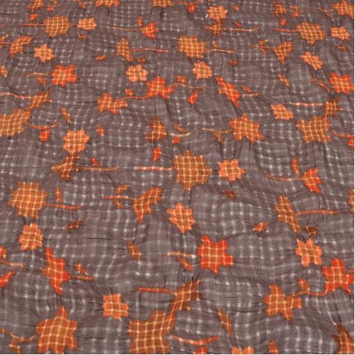 Сжатая шерстяная марлевка с клетчатыми цветами