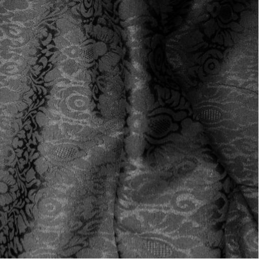 Жаккард стрейч черно-коричневый с теплым чернильным отливом