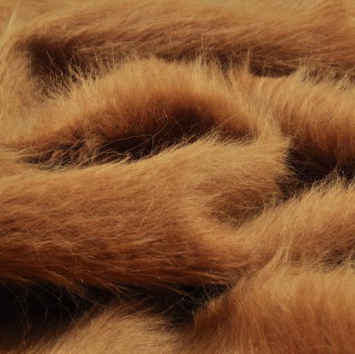 Пальтовая ткань коричнево-горчичного цвета с длинным ворсом