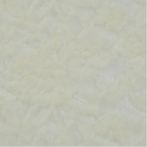 Кружевное полотно молочного цвета с цветами из шерсти