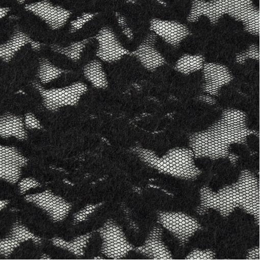 Кружевное полотно черного цвета с шерстяным рисунком
