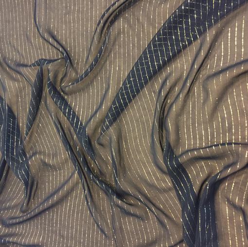 Шелк-шифон черный Haute Couture с золотой полоской