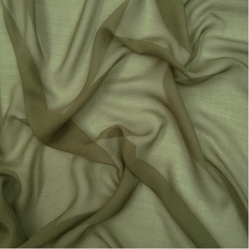 Шелк шифон мелкая клетка пыльно-оливкового цвета