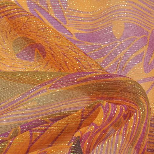 Шелк шифон креш с люрексом в табачно-оранжевых тонах