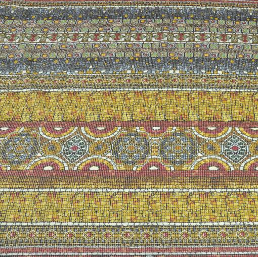 Шелк креш D&G мозаика в красно-желтых тонах