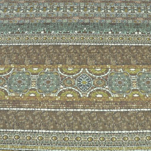 Крешированный шелк в мозаичных рисунках оттенков охры D&G