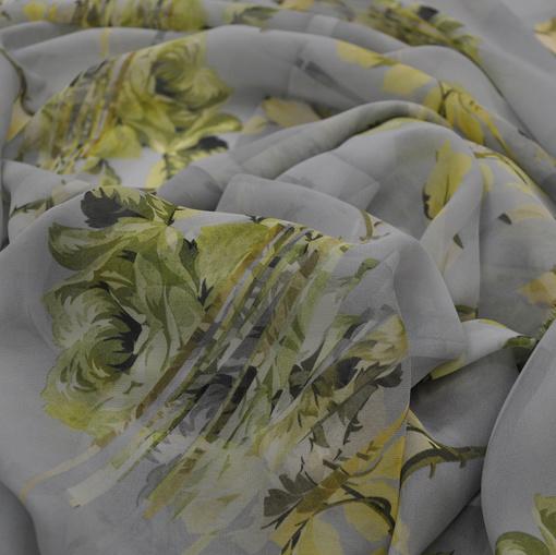 Шёлк шифон креп принт салатные цветы на сером фоне