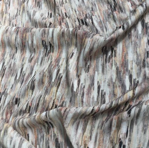 Вискоза плательная стрейч со льном ESCADA абстракция в терракотовых тонах