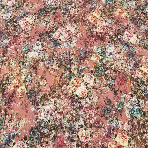 Вискозный трикотаж цветочный принт на розовом фоне
