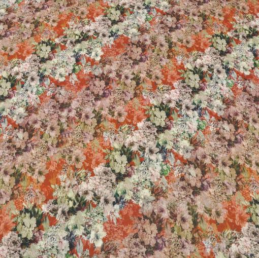 Вискозный трикотаж цветочный принт на оранжевом фоне