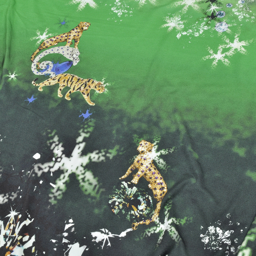 Вискозный трикотаж купон с кристаллами и леопардами