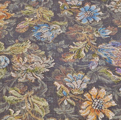Вискозный трикотаж принт в стиле тканного цветочного рисунка на сером фоне