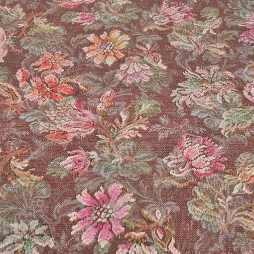 Вискозный трикотаж принт в стиле тканного цветочного рисунка на розовом фоне