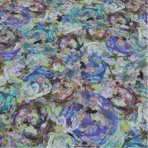 Вискозный трикотаж зелено-синяя абстракция