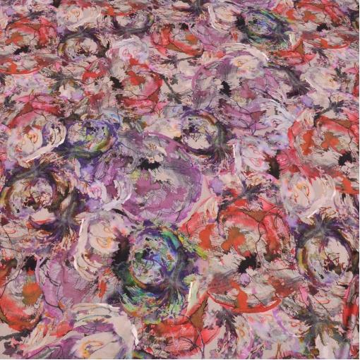 Вискозный трикотаж с абстрактным рисунком в фиолетово-сиреневых тонах