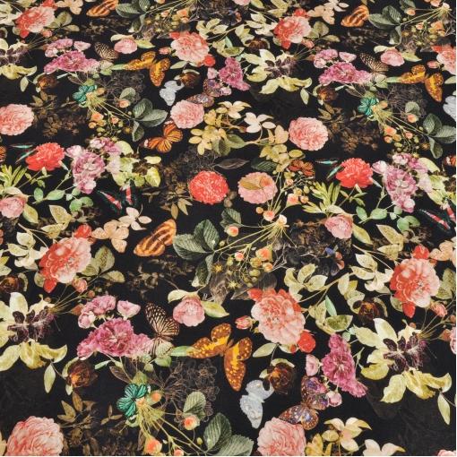 Вискозный трикотаж цветы и бабочки на черном фоне