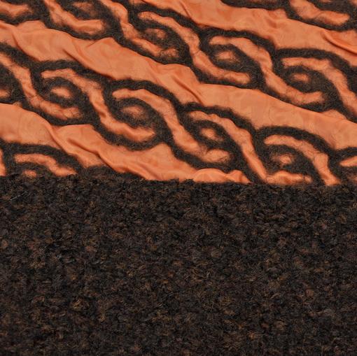 Курточная двухслойная ткань оранжевого цвета на изнанке лоден