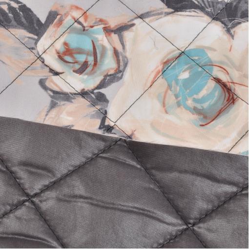 Курточная стеганная ткань с водоотталкивающей пропиткой абстрактные розы