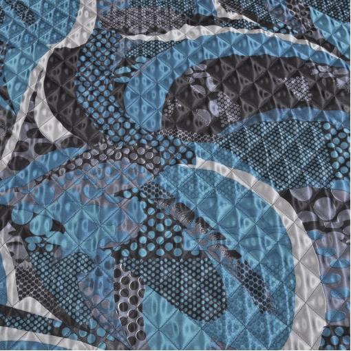 Стеганная мягкая курточная ткань с абстрактным рисунком цвета морской волны