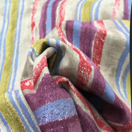 Курточная плотная ткань стрейч полоски принт Sportmax