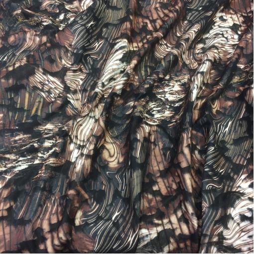Жаккард курточный двойной коричневые разводы
