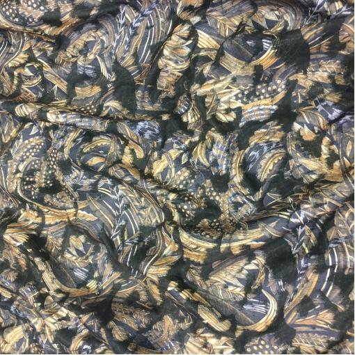 Жаккард курточный двойной желто-серые разводы