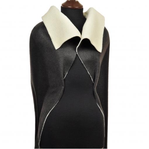 Пальтово-дубленочная валяная ткань темно-серого цвета с мехом