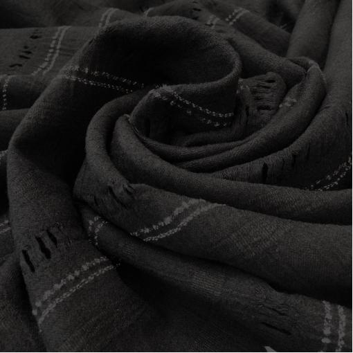 Ткань костюмная шерстяная типа сукна с мережкой и полоской