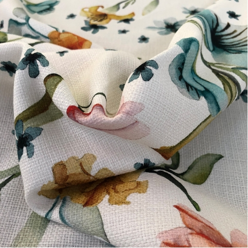 Хлопок костюмный рогожного плетения принт Blumarine акварельные лилии