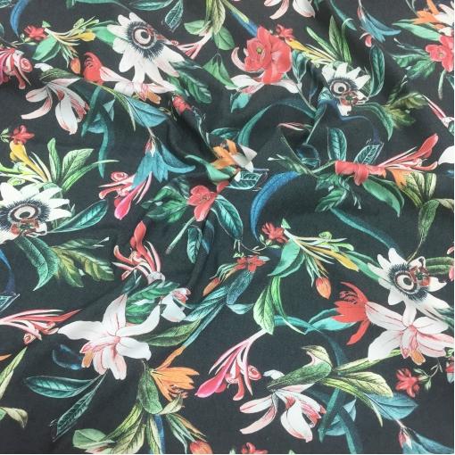 Джинса хлопковая стрейч принт Alberta Ferretti цветы на сером фоне