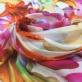 Муслин хлопок с шелком яркие лилии на молочном фоне