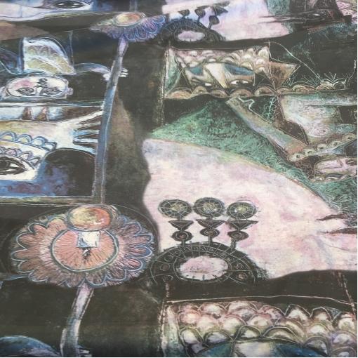 Хлопок тонкий летний стрейч принт продольный купон в серо-голубой гамме