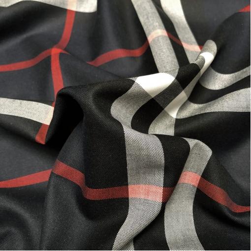 Хлопок рубашечный дизайн Burberry красно-белая клетка на черном фоне