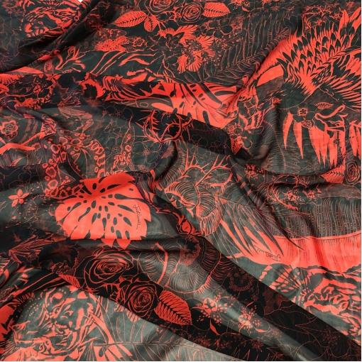 Муслин хлопок с шелком принт Just Cavalli джунгли в красно-черной гамме