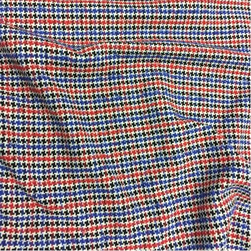 Хлопок костюмный мелкий пье-де-пуль в сине-красных тонах