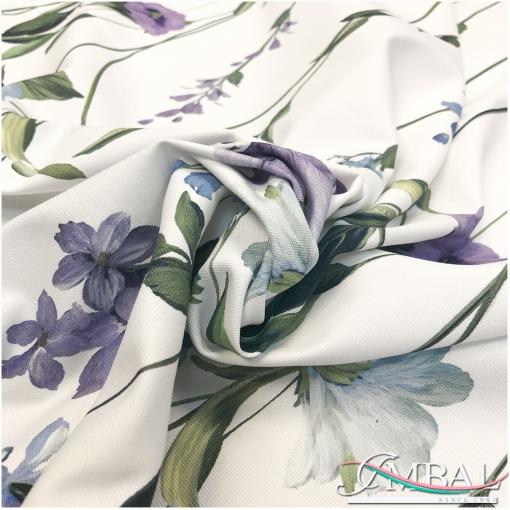 Джинса стрейч принт в стиле Blumarine цветочный купон на белом фоне