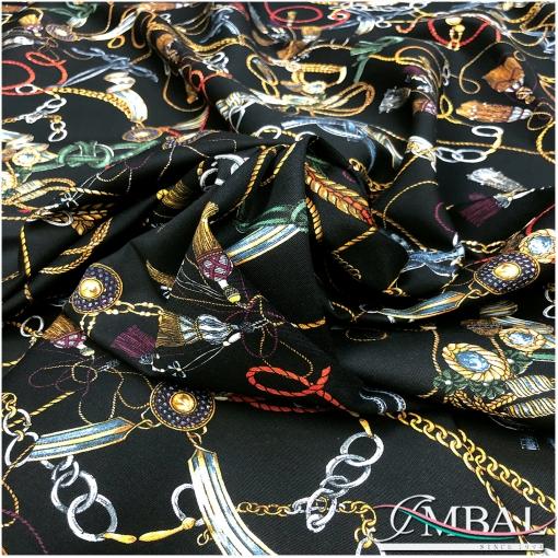 Джинса стрейч принт в стиле Versace цепи и ремни на черном фоне