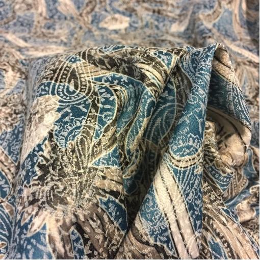 Жаккард хлопковый стрейч принт ETRO цветы и огурцы голубого цвета