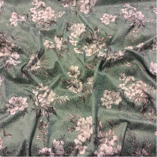 Жаккард хлопковый стрейч принт ETRO цветы и огурцы зеленого цвета