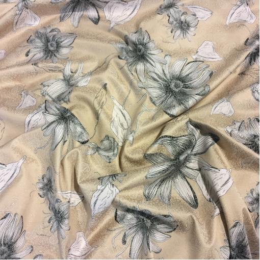 Жаккард хлопковый стрейч принт ETRO цветы и огурцы бежевого цвета