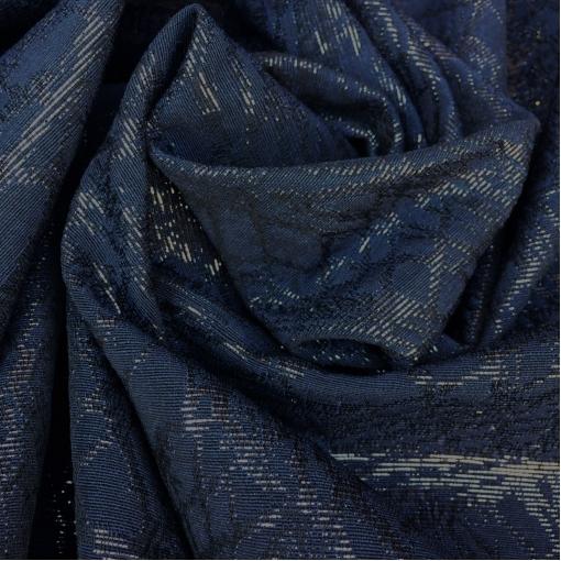 Жаккард нарядный плательный темно-синий с черным люрексом