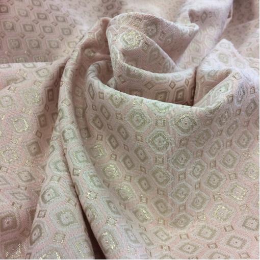 Жаккард нарядный х/б костюмный розово-золотые ромбы