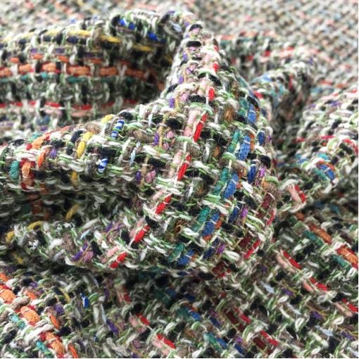 Шанель шерстяная цветные нити в бежево-салатовых тонах