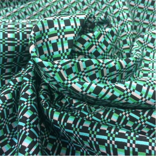 Жаккард нарядный дизайн Prada бирюзово-розовая геометрия