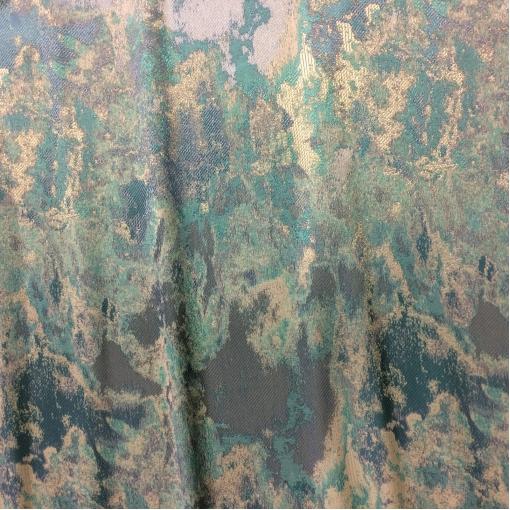 Жаккард нарядный бирюзово-золотистого цвета