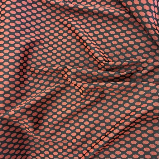 Жаккард нарядный стрейч дизайн Prada красные овалы на черном фоне