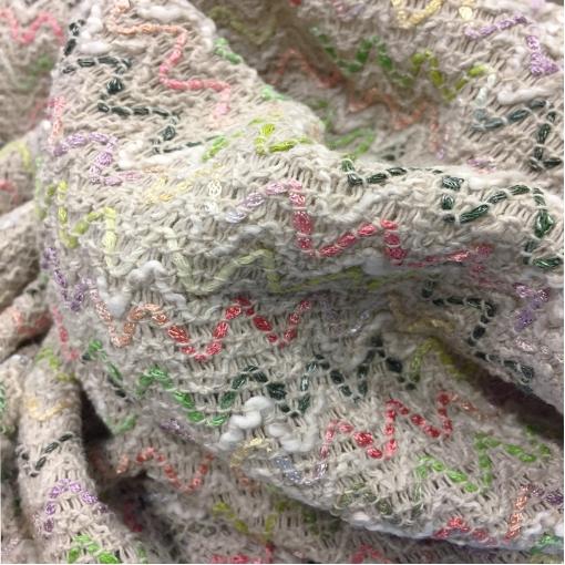Шанель костюмная нарядная стрейч дизайн Chanel разноцветные зигзаги