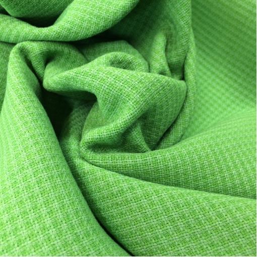 Жаккард шерстяной стрейч клеточка цвета яркой зелени