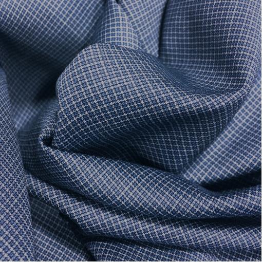 Ткань костюмная шерстяная Cerruti сине-голубая мелкая клетка