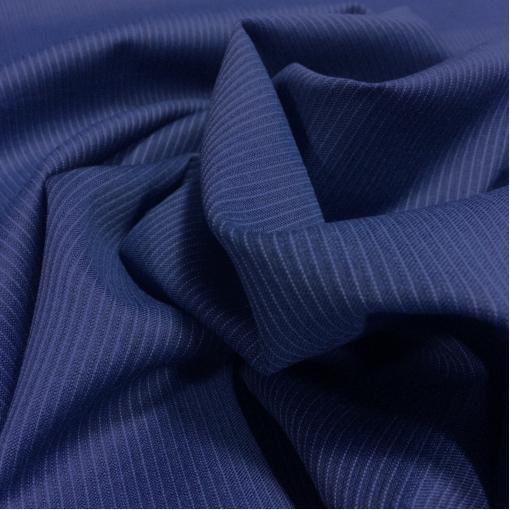 Ткань костюмная шерстяная Cerruti ярко-синего цвета в тонкую полоску
